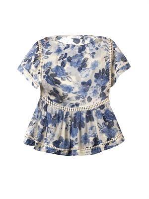 Hydrangea-print silk top
