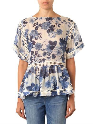 Zimmermann Hydrangea-print silk top