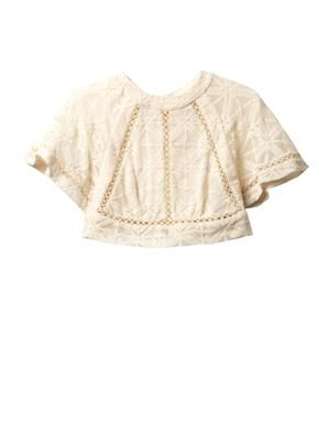 Haze cross-stitch cropped blouse