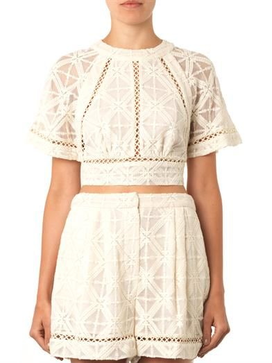 Zimmermann Haze cross-stitch cropped blouse