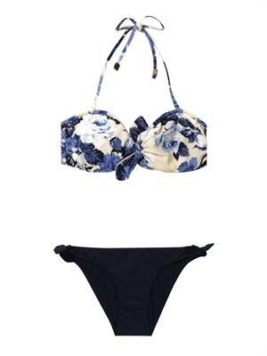 Hydra floral-print bandeau bikini