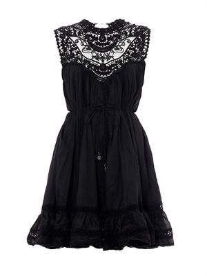 Filigree lace-bib dress