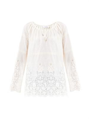 Keeper embroidered cover-up