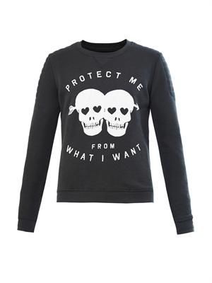 Slogan and skull-print sweater