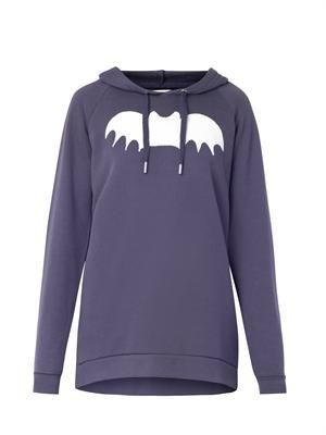 Bat-print hooded sweatshirt