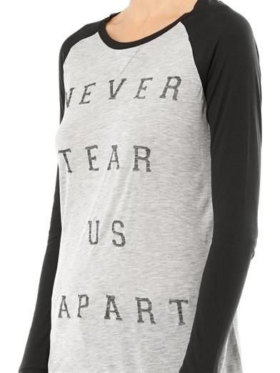 Zoe Karssen Never Tear Us Apart baseball T-shirt
