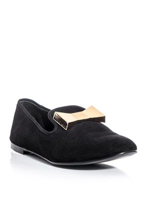 Metal-bow suede slippers