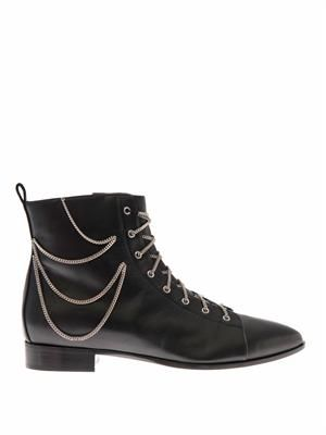 Chain-embellished leather ankle boots