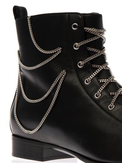 Giuseppe Zanotti Chain-embellished leather ankle boots