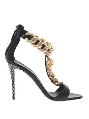 Coline crystal-chain leather sandals