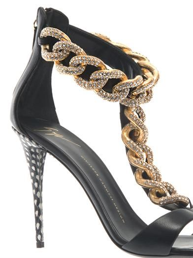 Giuseppe Zanotti Coline crystal-chain leather sandals