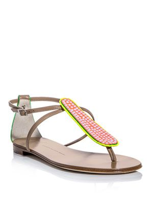 Leather and neon sandals