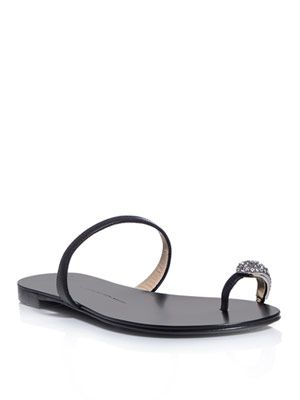 Crystal toe-detail sandals