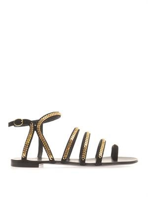 Chain-trim suede sandals