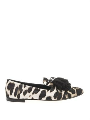 Dalila leopard-print calf-hair loafers