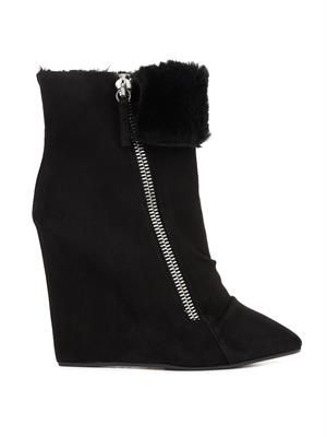 Suede and fur wedge boots