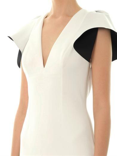 Robert Rodriguez Ruffle-cape neoprene dress