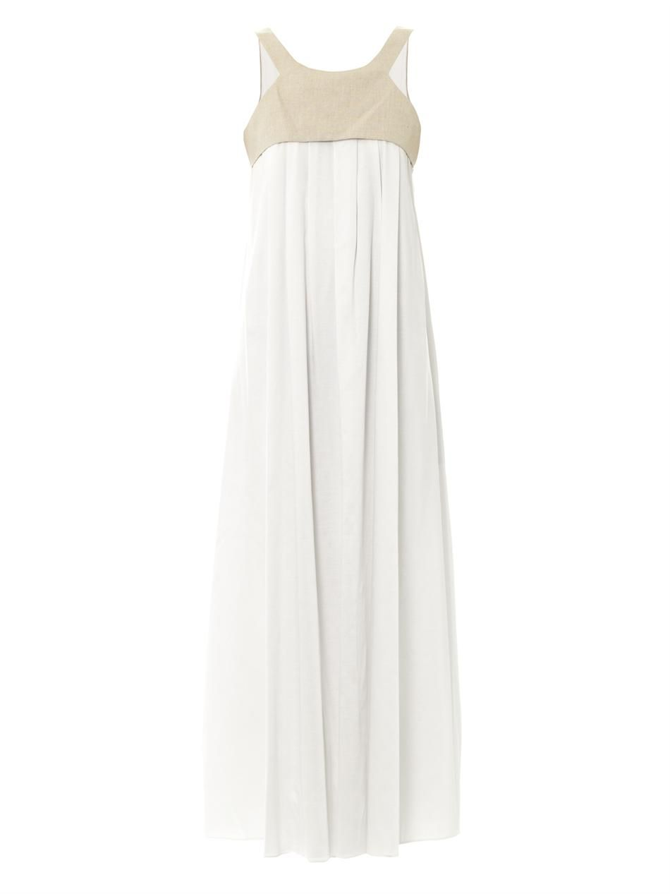 Linen and stretch satin maxi dress  L'Agence